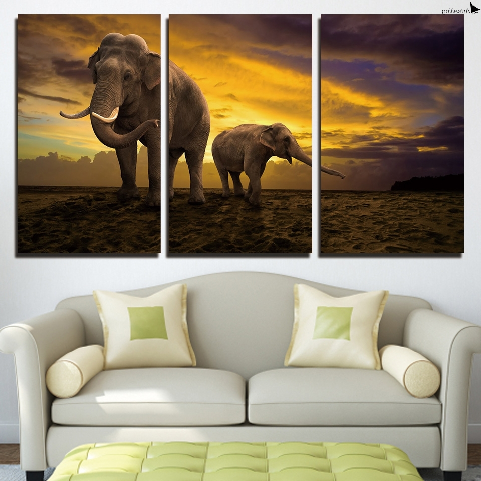 2018 Elephant Canvas Wall Art Pertaining To Hd Printed 3 Piece Elephant Canvas Painting Sunset Large Canvas Wall (View 1 of 15)
