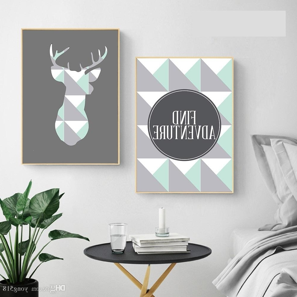 2018 Geometric Deer Arrow Wall Art A4 Canvas Posters Prints Nordic Within Preferred Arrow Wall Art (View 2 of 15)