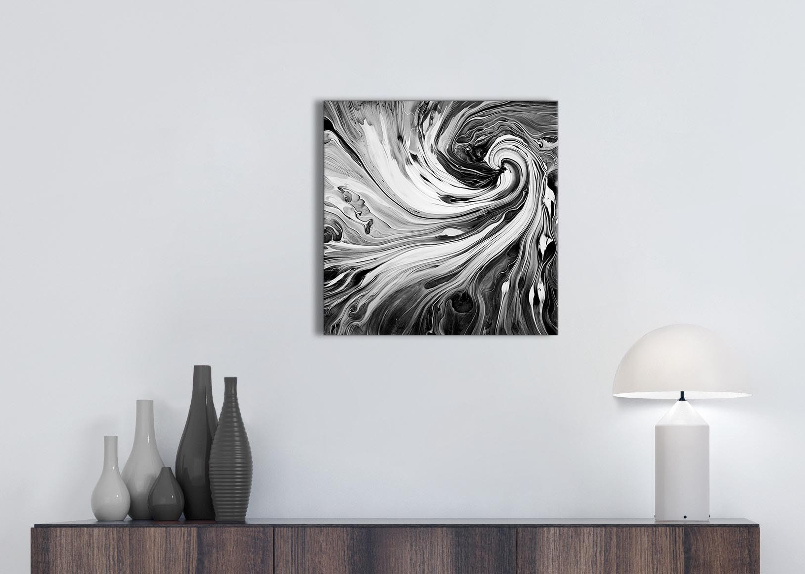 2018 Grey And White Wall Art Regarding Black White Grey Swirls Modern Abstract Canvas Wall Art – 49Cm (View 2 of 15)