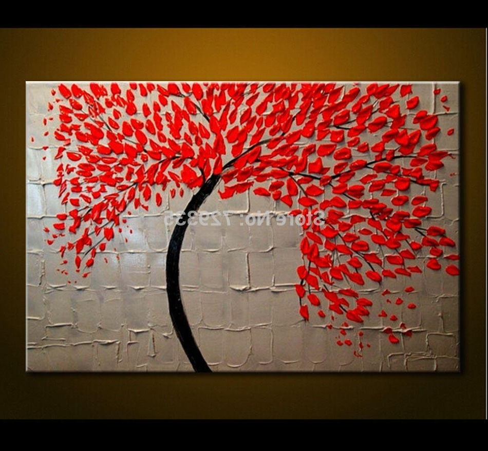 2018 Hand Made Oil Painting On Canvas Palette Knife Red Tree Flowers With Regard To Recent Cheap Canvas Wall Art (View 7 of 15)