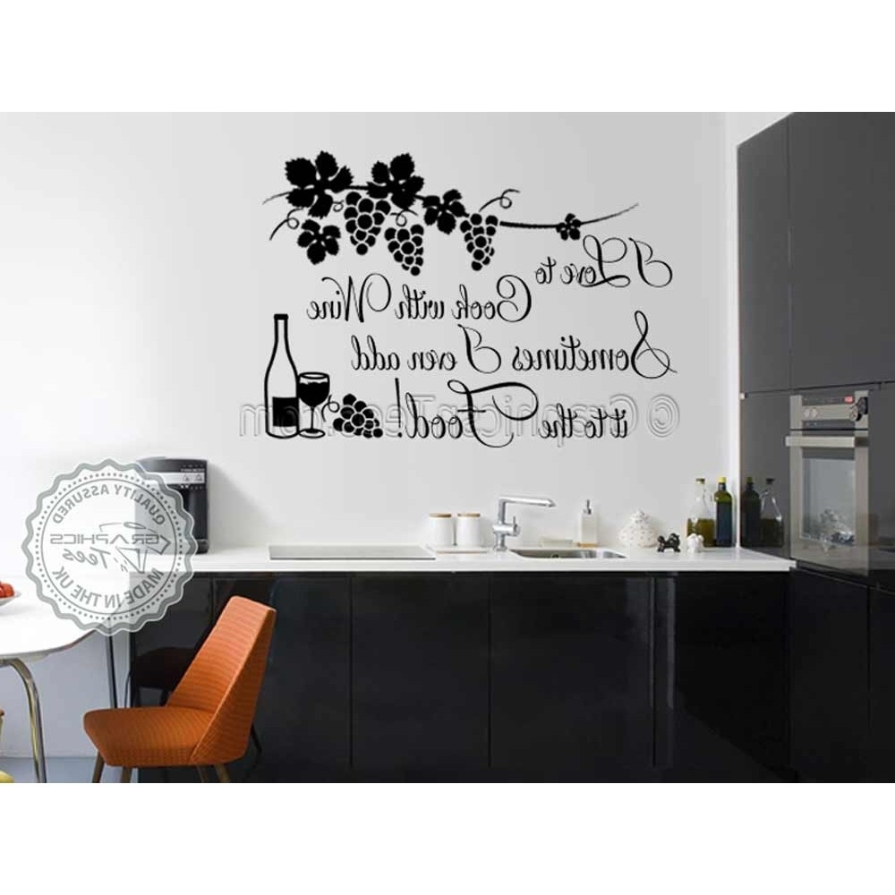 2018 I Love To Cook With Wine, Funny Kitchen Cooking Quote, Vinyl Wall Within Wall Art For Kitchen (View 2 of 15)