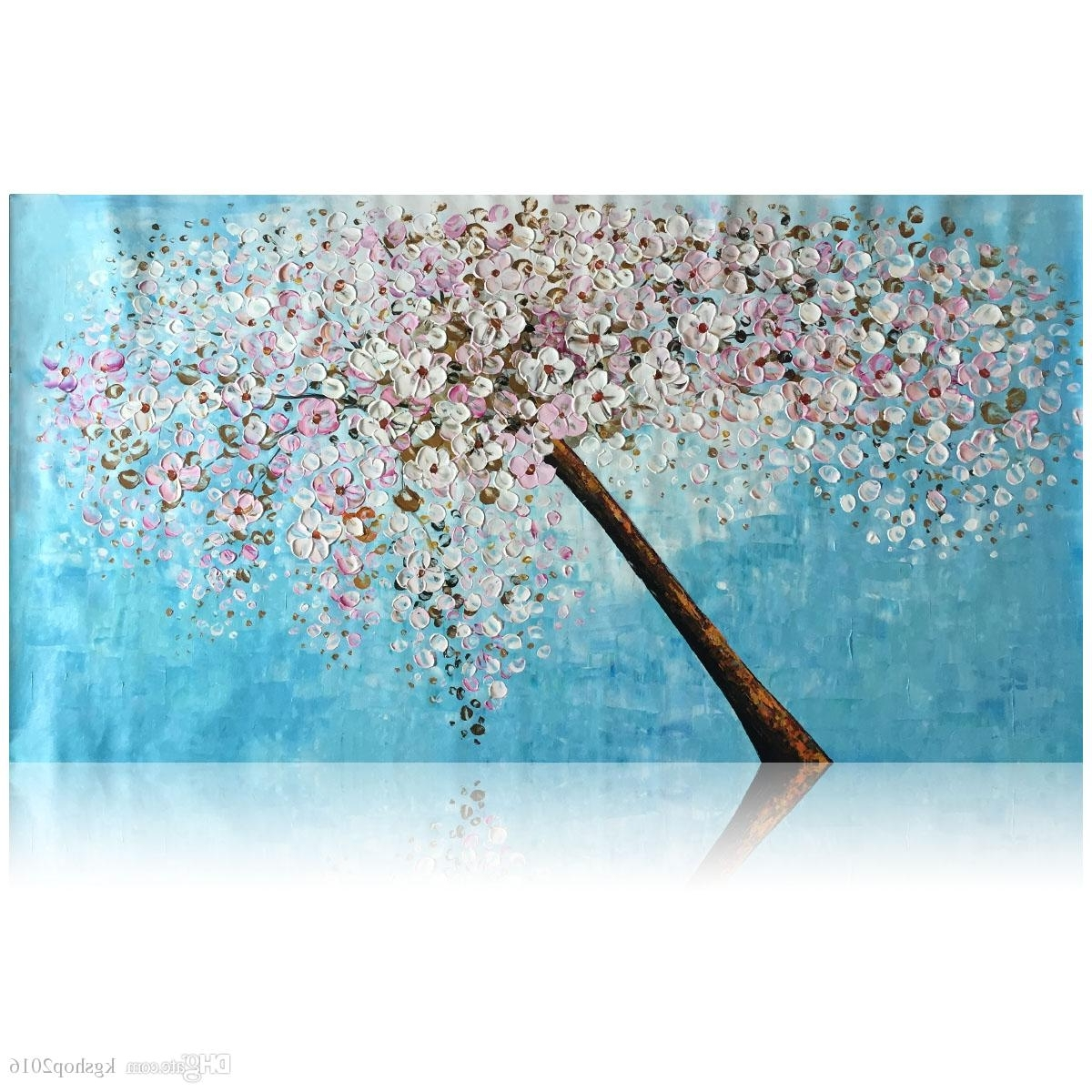 2018 Kgtech Thick Textured Acrylic Paintings 3D Floral Wall Art Throughout Recent Floral Wall Art (View 3 of 15)