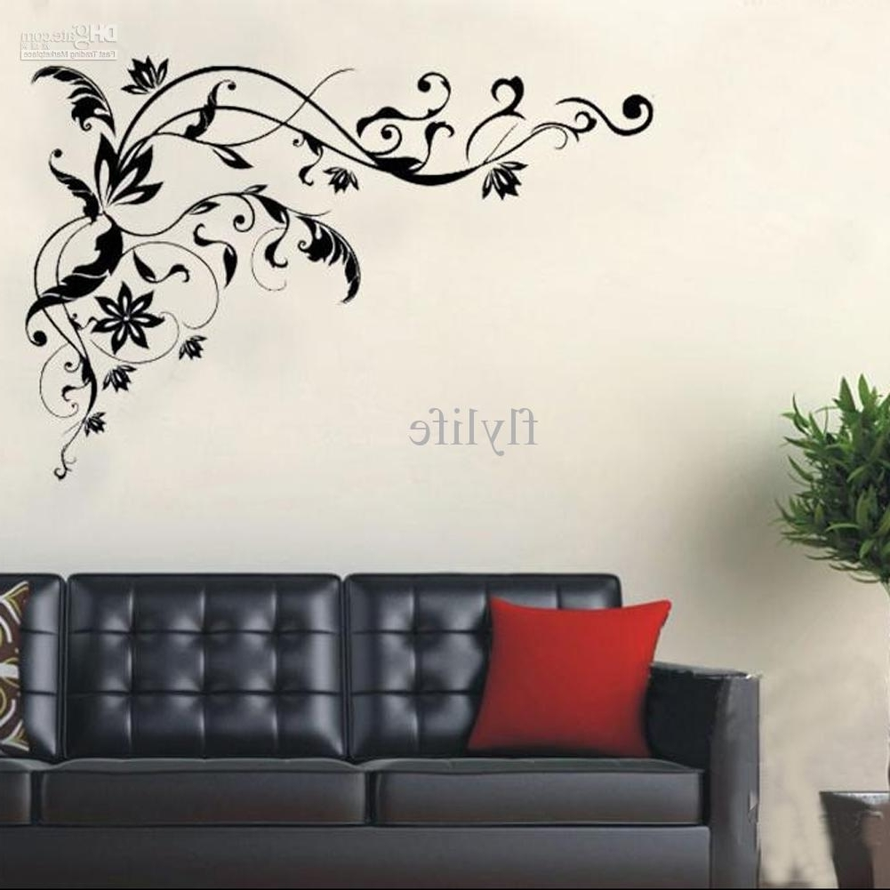 2018 Large Black Vine Art Wall Decals, Diy Home Wall Decor Stickers For Throughout Wall Art Stickers (View 1 of 15)