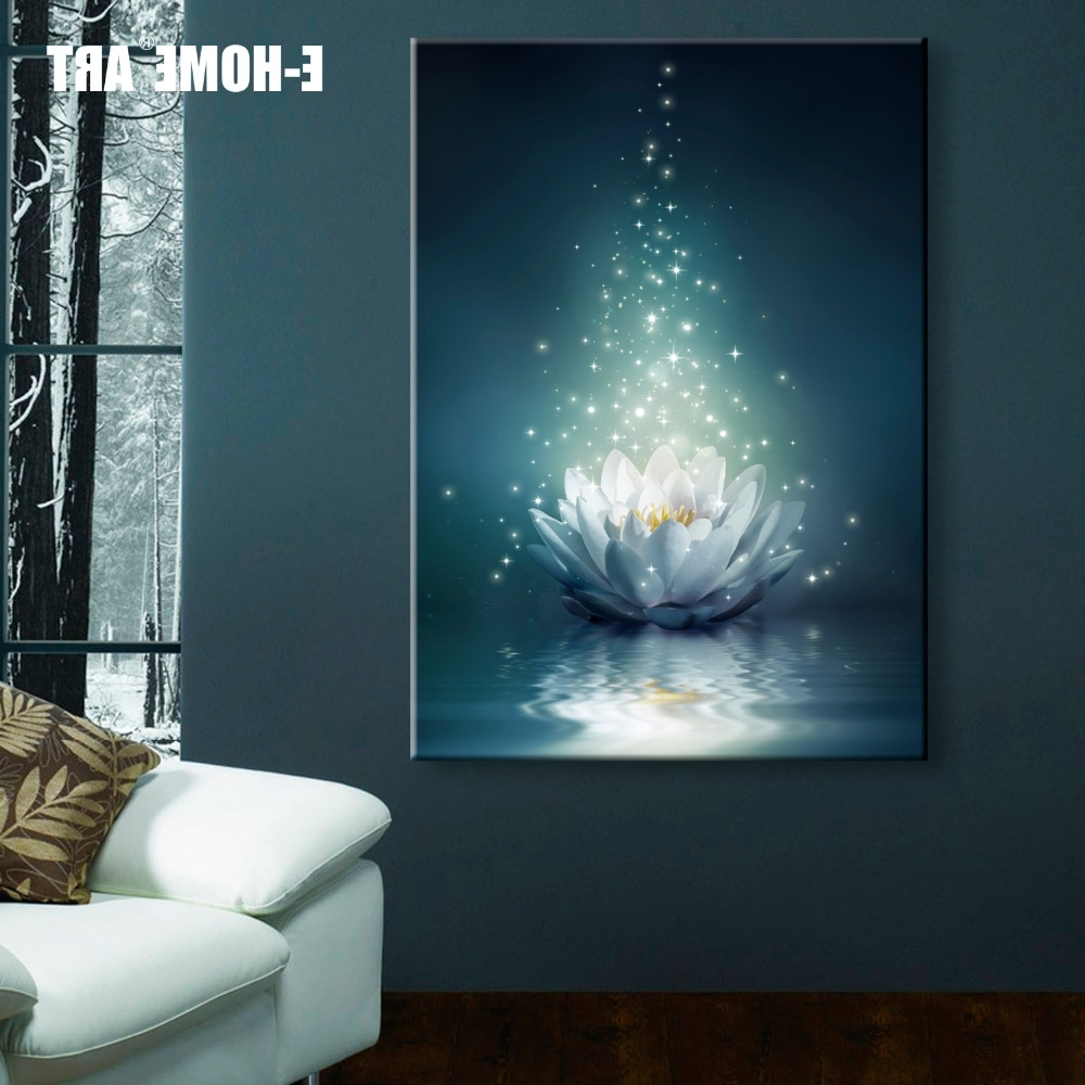 2018 Led Wall Art In Stretched Canvas Prints White Lotus On The Water Led Interstellar (View 1 of 15)