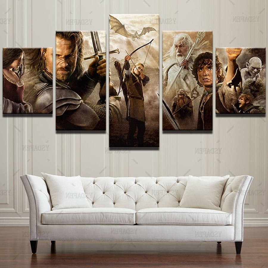 2018 Lord Of The Rings Wall Art With Oil Canvas Wall Art 5 Panel Lord Of The Rings Movie Characters (View 1 of 15)