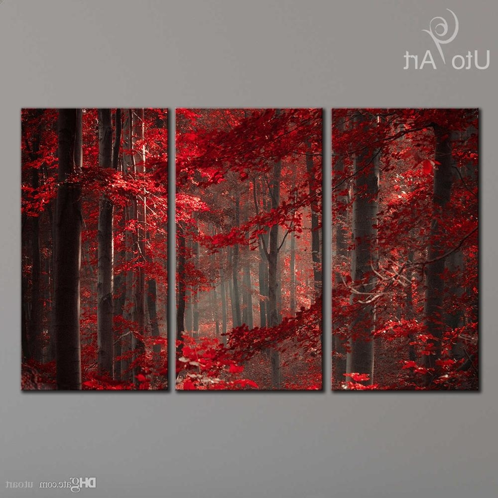 2018 Morden 3 Panel Wall Art Painting Red Enchanted Forest Giclee For Well Known Panel Wall Art (View 1 of 15)