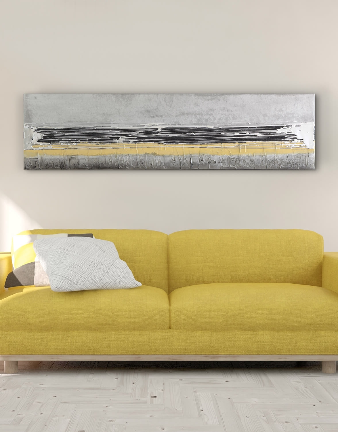 2018 Mustard Yellow – Contemporary Original Painting – Silver Wall Art Within Yellow Wall Art (View 15 of 15)