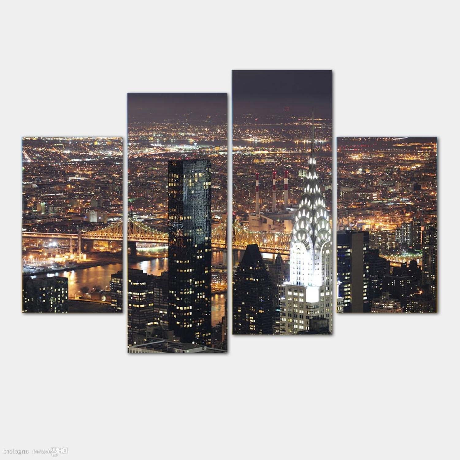 2018 New York City Wall Art Throughout Discount Wall Art New York City Manhattan Usa With Lights In Nice (View 3 of 15)