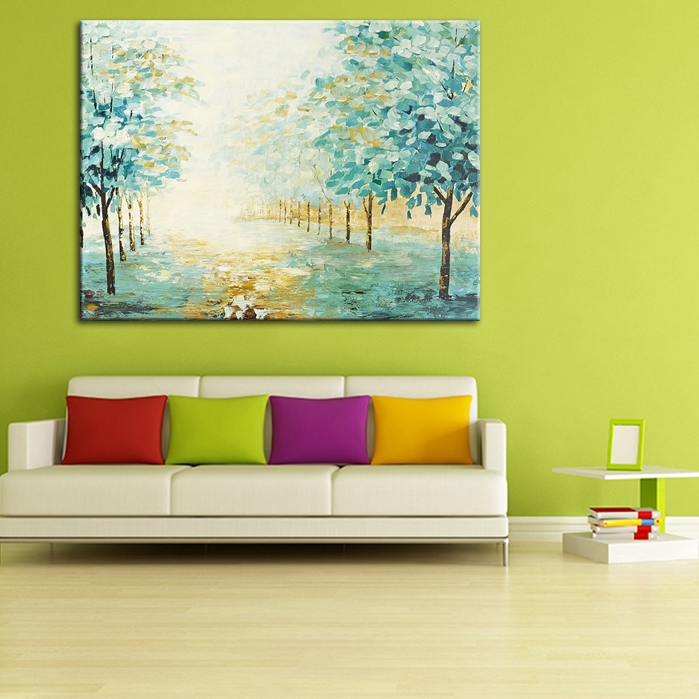 2018 No Frame Rural Path Street Green Tree Hand Painting Oil Pianting On With Nature Wall Art (View 10 of 15)