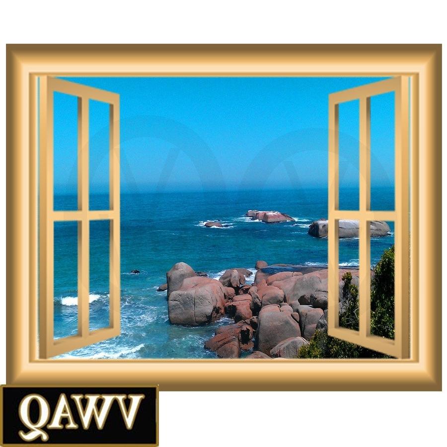 2018 Ocean Scene 3D Window Frame Family Wall Art Vinyl Decal Rocky Beach With Window Frame Wall Art (View 8 of 15)