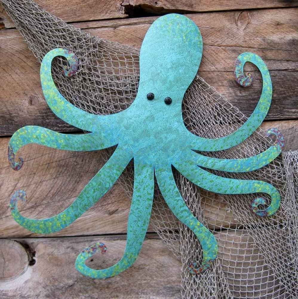 2018 Octopus Wall Art Within Handmade Large Metal Octopus Wall Sculpture Ocean Wall Decor Teal (View 10 of 15)