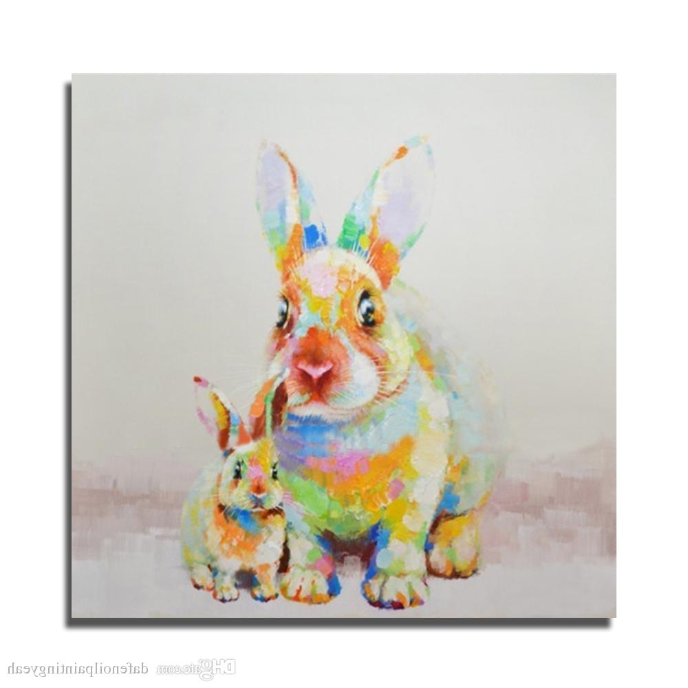 2018 Painting For Bedroom Hand Painted Beautiful Rabbit Oil Painting Throughout Famous Bunny Wall Art (View 1 of 15)