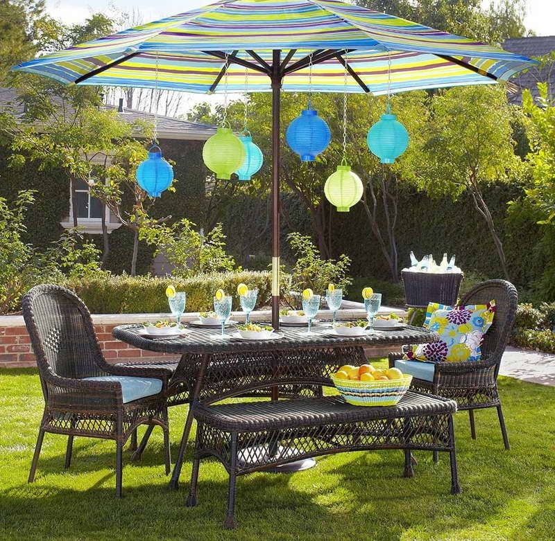 2018 Patio Furniture Sets With Umbrellas Pertaining To Outdoor Dining Sets With Umbrella Furniture Modern Round Patio Ideas (View 1 of 15)
