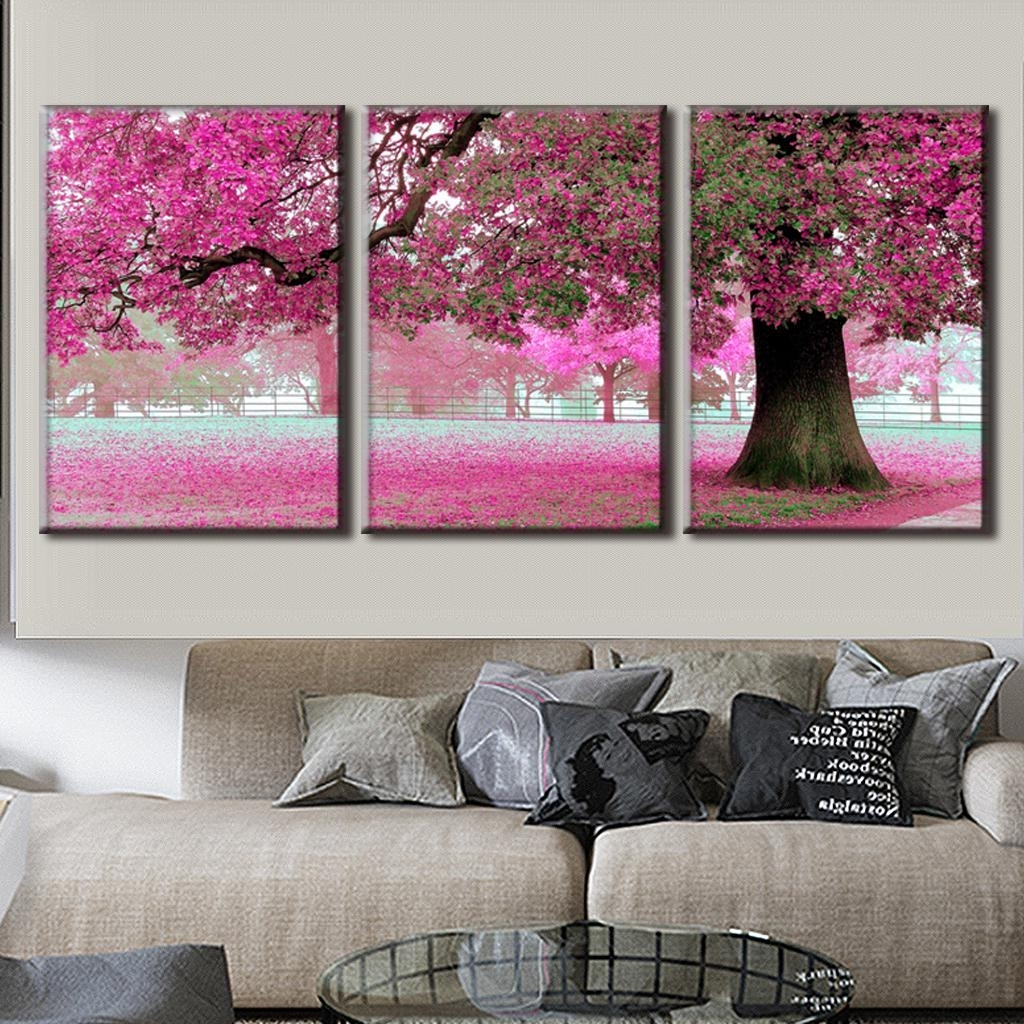 2018 Pink Wall Art For 3 Pcs/set Discount Framed Paintings Modern Landscape Canvas Print (View 4 of 15)
