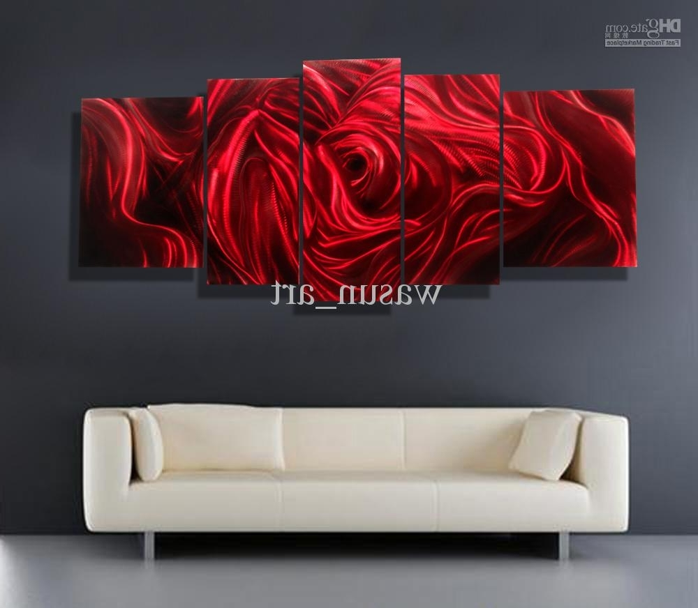 2018 Red Rose Modern Contemporary Abstract Painting,metal Wall Art Intended For Latest Red Wall Art (View 7 of 15)