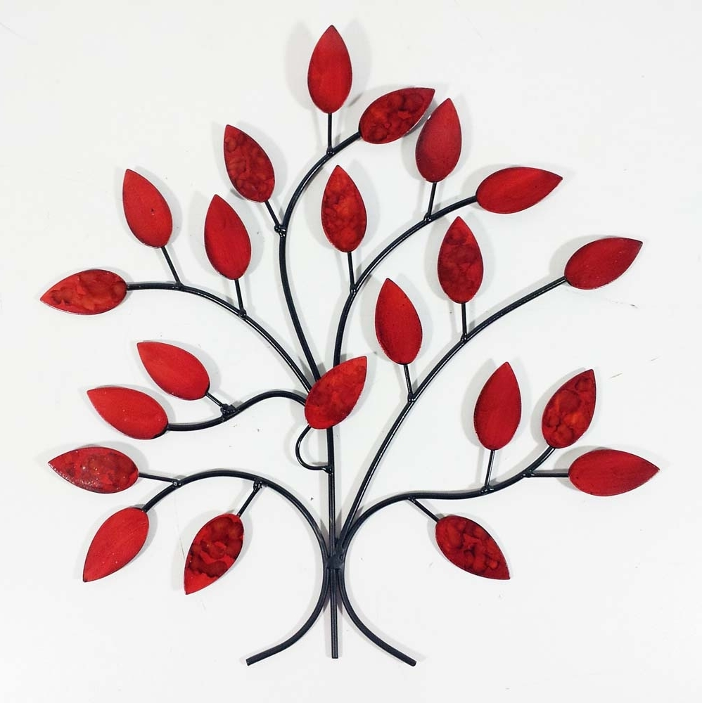 2018 Red Wall Art intended for Metal Wall Art - Fire Summer Tree Branch