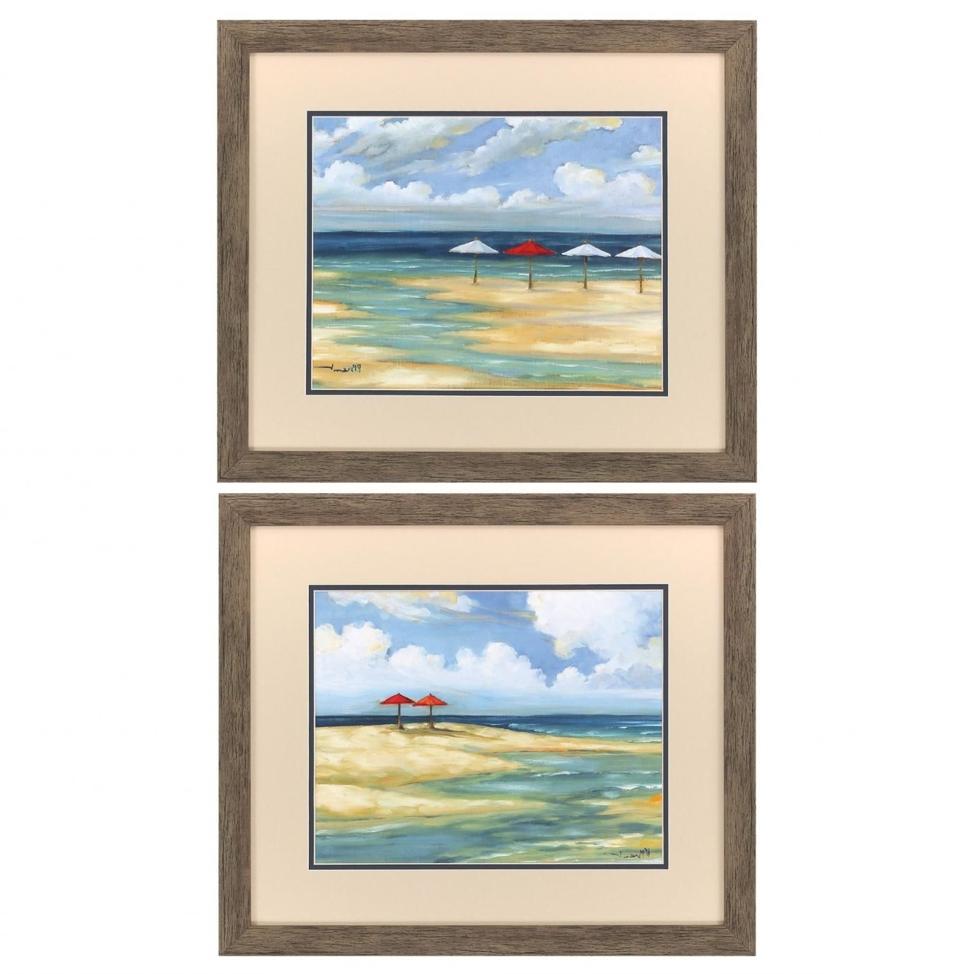 2018 Set Of 2 Framed Wall Art With Propac Umbrella Beachscape Ii Wall Art Set Of  (View 4 of 15)
