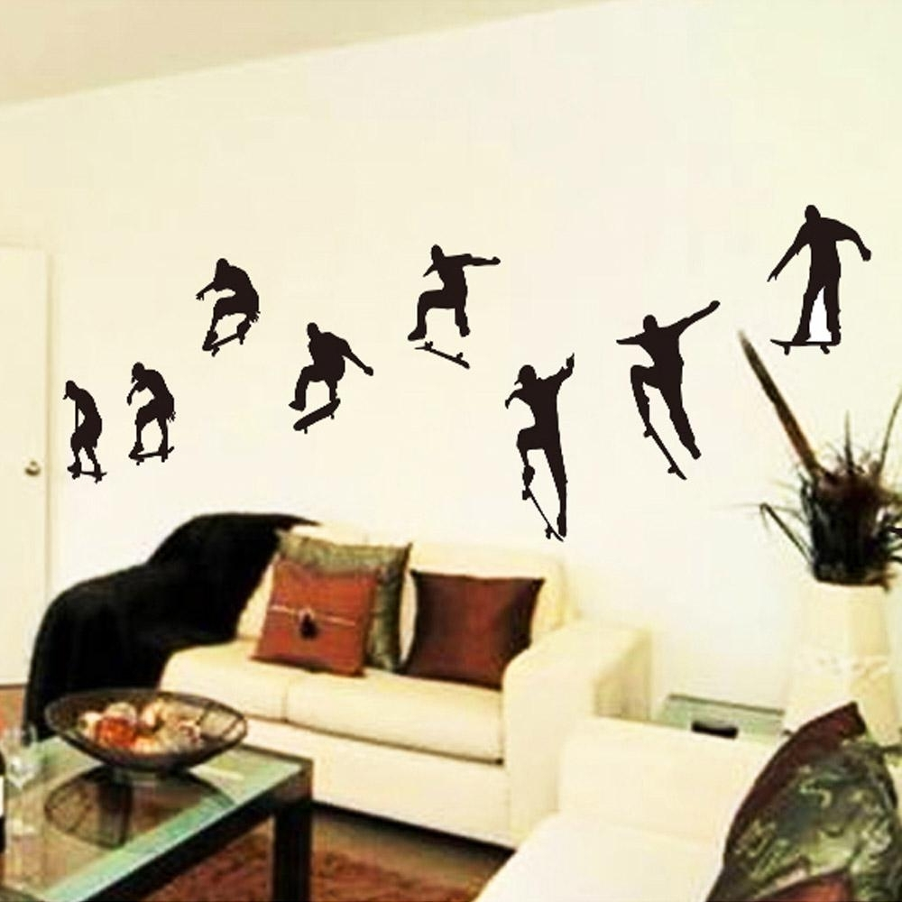 2018 Skateboard Sports Cool Life Simple Black Diy Wall Sticke Stickers Throughout Sports Wall Art (View 1 of 15)