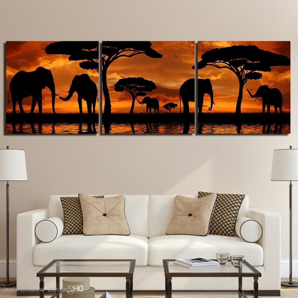 2018 Sunset African Elephant Canvas Paintings Home Decor Wall Art Regarding Well Known Elephant Canvas Wall Art (View 2 of 15)