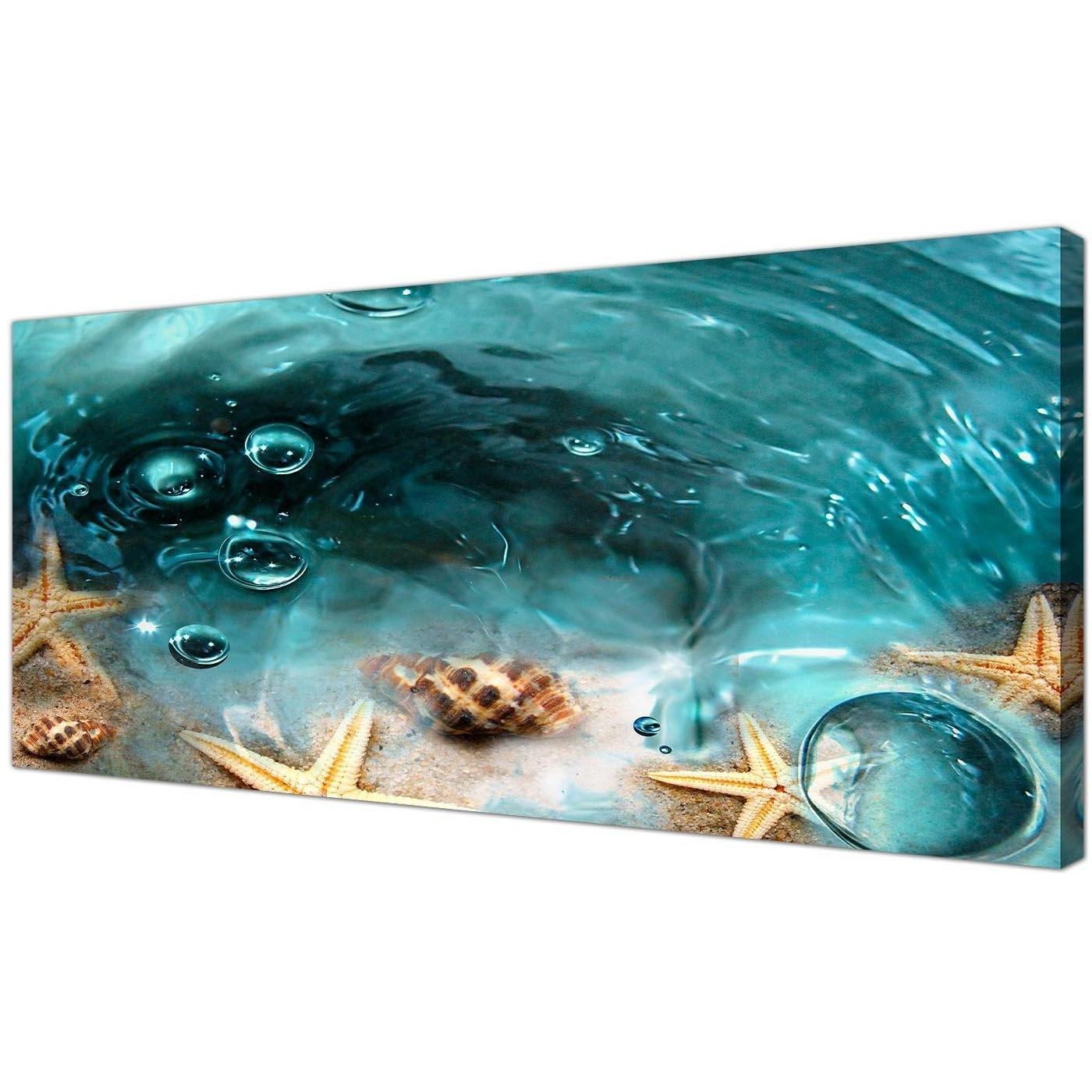 2018 Teal Seaside Starfish In Sand Bathroom Wall Art With Regard To Bathroom Canvas Wall Art (View 5 of 15)
