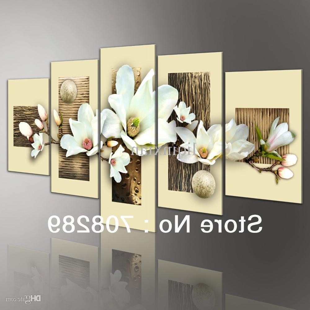 2018 Thick Texture Magnolia Modern Abstract Oil Paintings Landscape Inside Most Popular Modern Wall Art Decors (View 6 of 15)