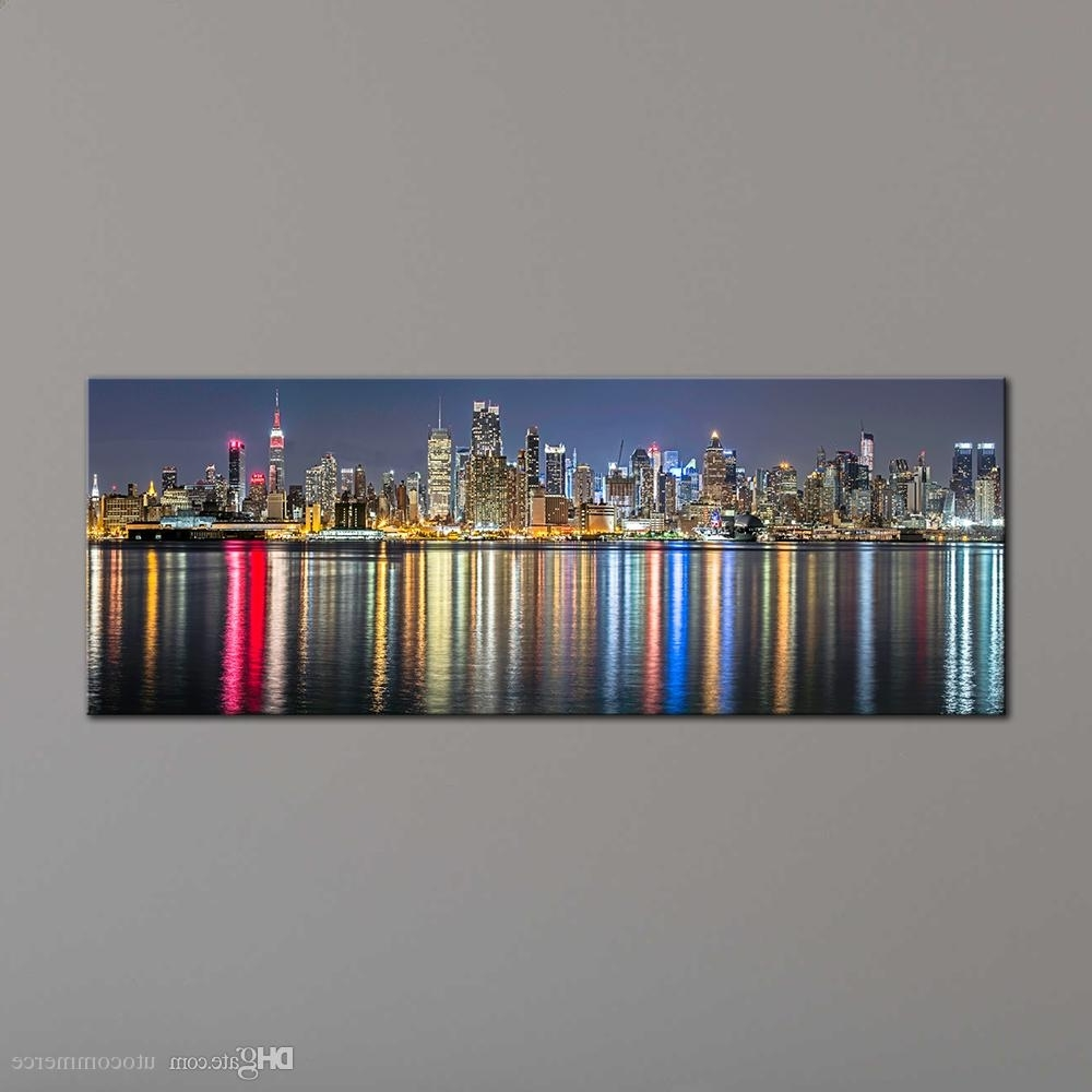 2018 Unframe New York City Canvas Painting Panoramic Home Decor Within Famous Panoramic Wall Art (View 1 of 15)
