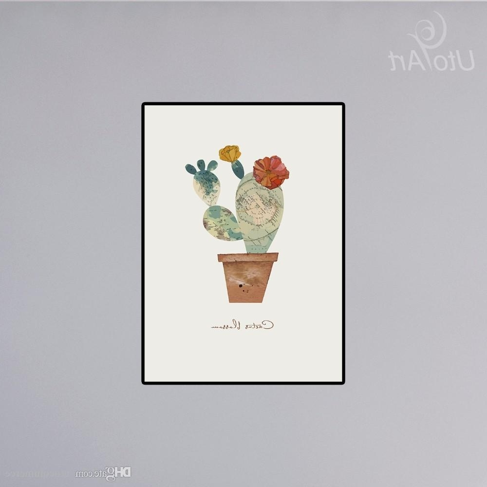 2018 Unframed Impression Leafy Cactus Wall Painting Green Cactus Pertaining To Best And Newest Cactus Wall Art (View 3 of 15)