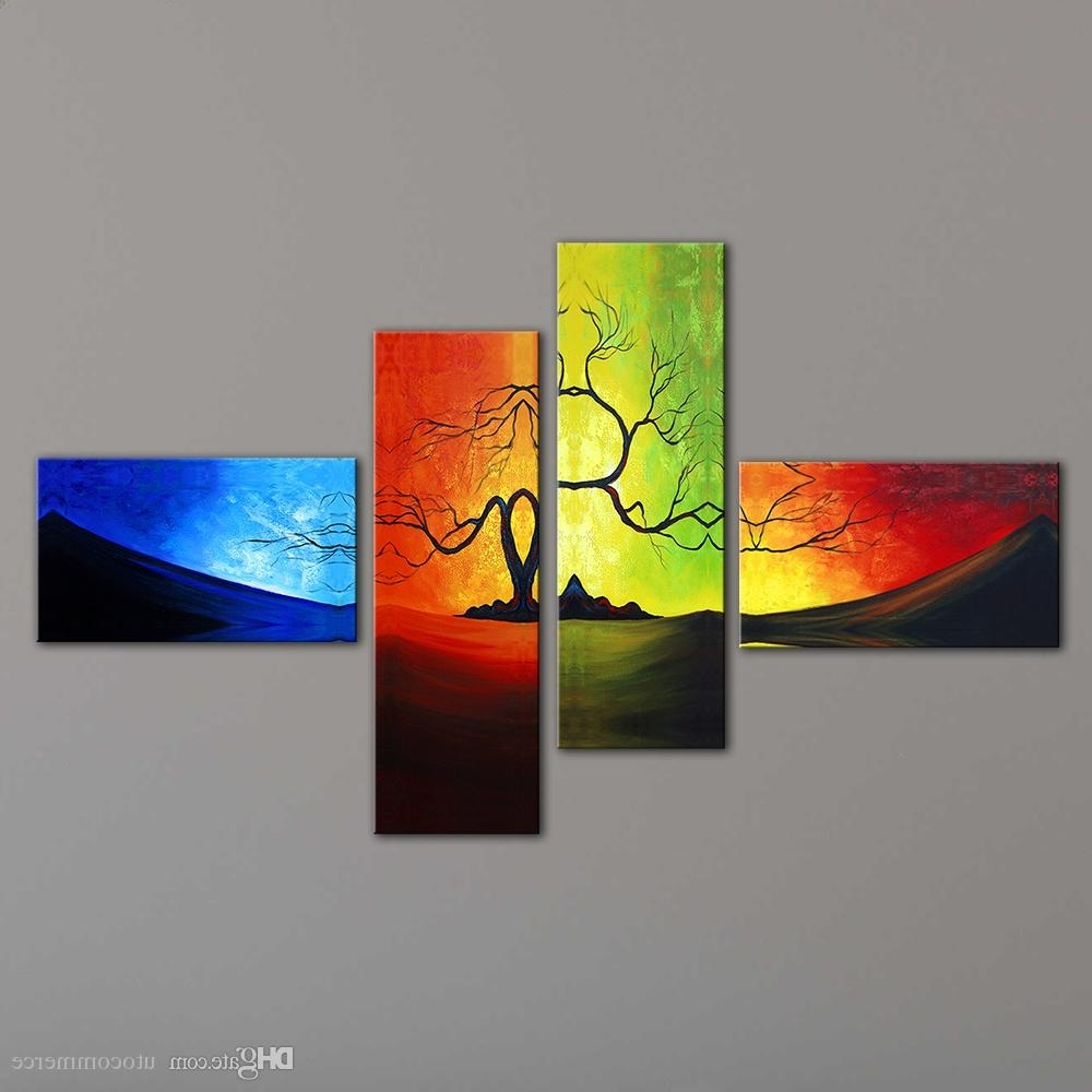 2018 Unstretched Modern Living Room Wall Decor Canvas Abstract Inside 2017 4 Piece Wall Art (View 3 of 15)