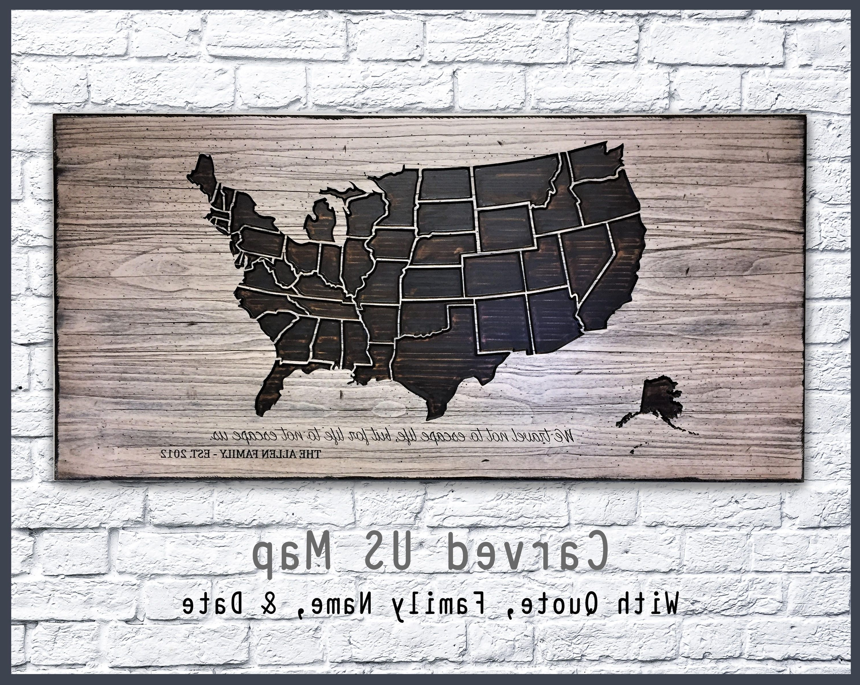 2018 Us Map Wall Art With Us Map Home Wall Decor, Family Name Sign, Established Date, Rustic (View 2 of 15)