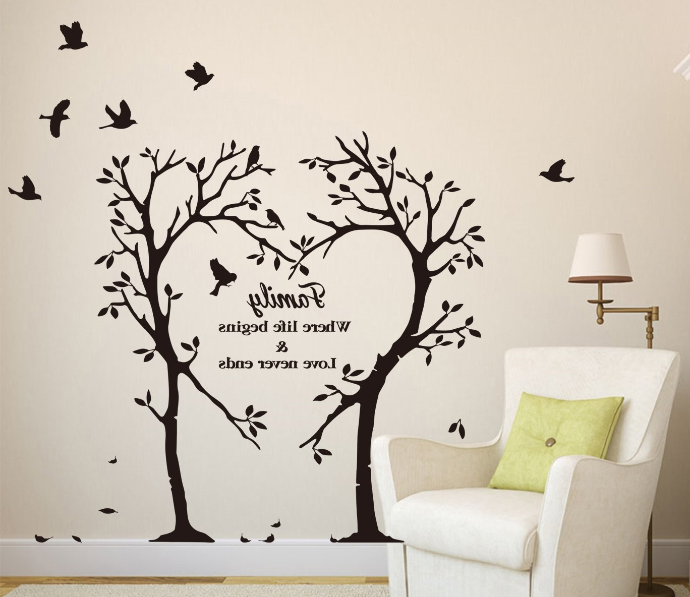 2018 Wall Tree Art Inside Large Family Inspirational Love Tree Wall Art Sticker, Wall Sticker (View 2 of 15)