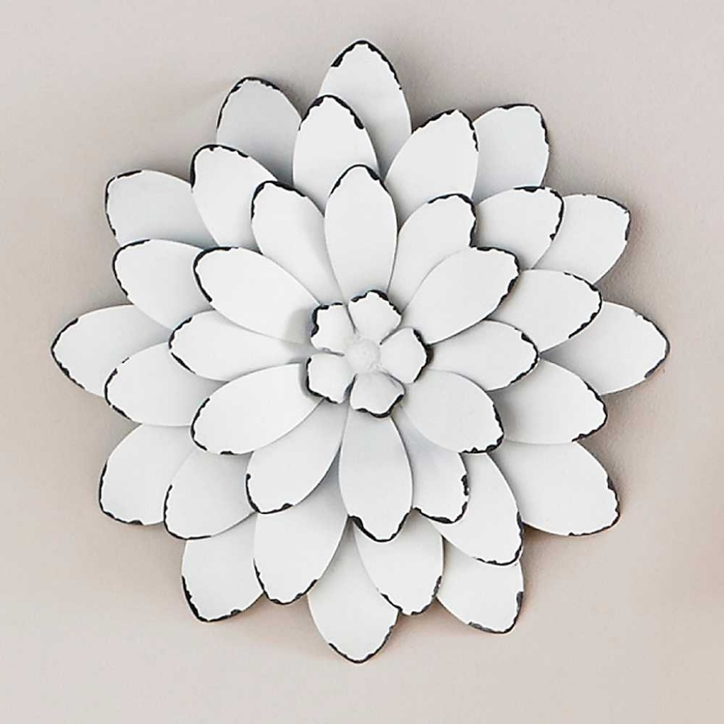 2018 White Color Metal Flowers Wall Art Good Looking Wonderful Image For Metal Flower Wall Art (View 1 of 15)