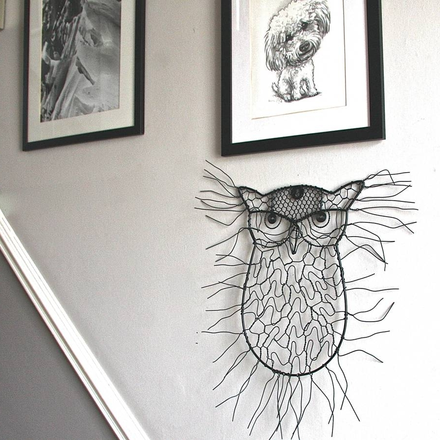 2018 Wire Wall Art With Regard To Sitting Owl Wire Garden Wall Artlondon Garden Trading (View 1 of 15)