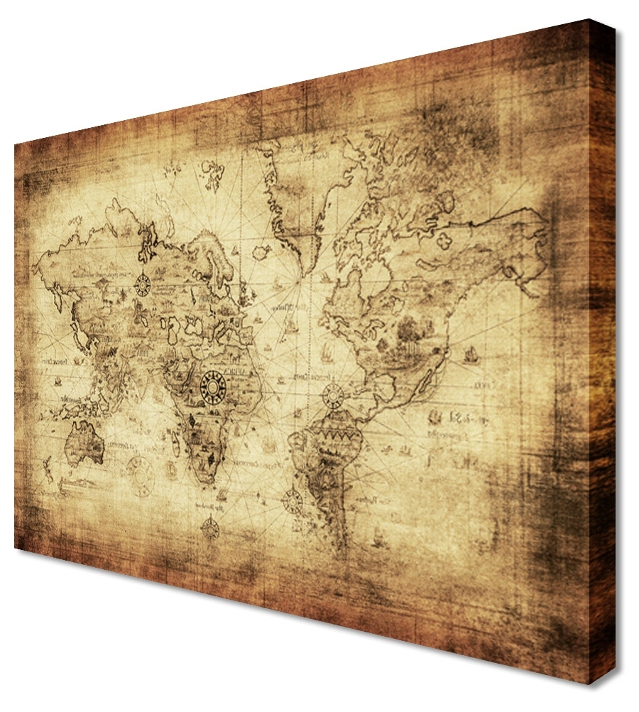 2018 Wood Canvas Wall Art Wall Art Design Ideas Large Classic Vintage Throughout World Map Wall Art Canvas (View 14 of 15)