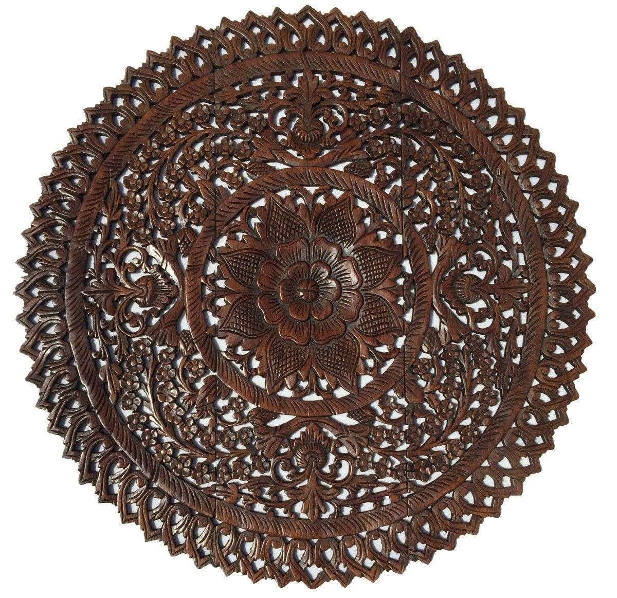 2018 Wood Medallion Wall Art Throughout Round Medallion Wall Art Wooden Wood New Elegant Carved Plaque (View 10 of 15)