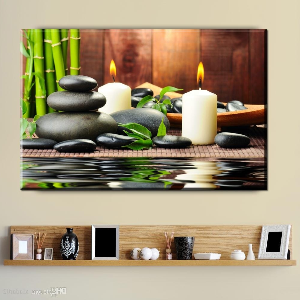 2018 Zz1923 New Bamboo Black Spa Zen Stone Pictures Prints On Canvas For Preferred Modern Wall Art (View 15 of 15)