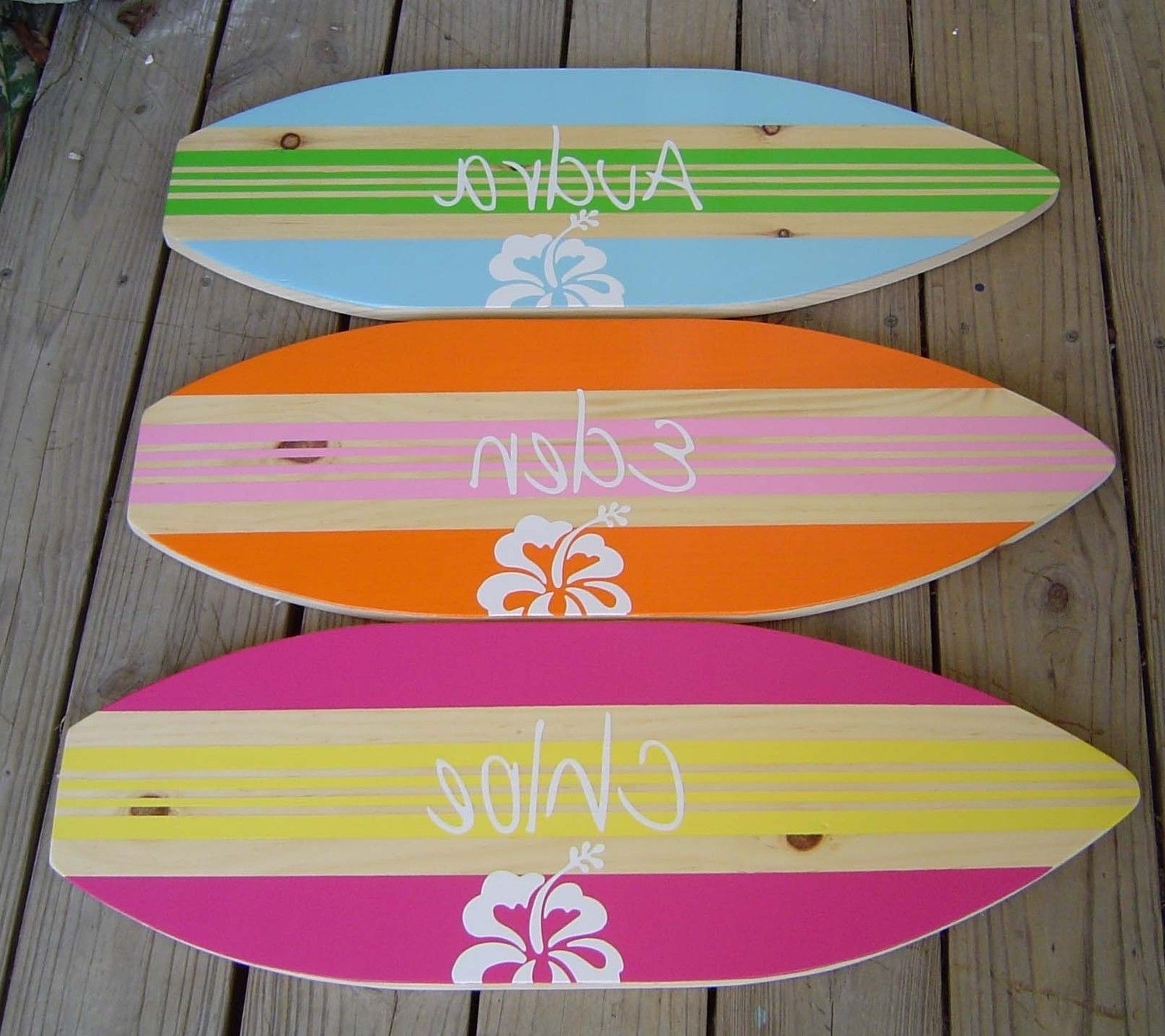 27 Inch Personalized Hibiscus Surfboard Wall Art Beach Sign / Kids With Most Recent Surfboard Wall Art (View 7 of 15)