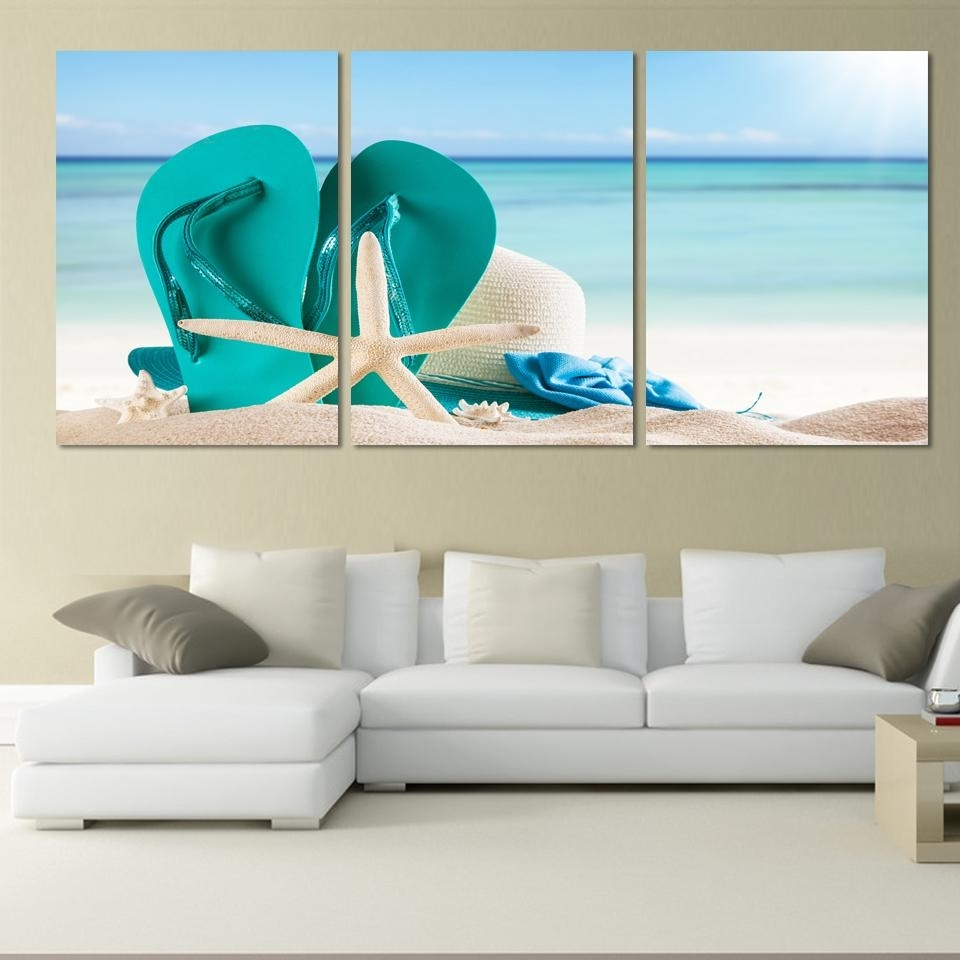 3 Panel Large Beach Canvas Seascapes Shoses And Star Paintings Wall Intended For Famous Large Coastal Wall Art (View 2 of 15)