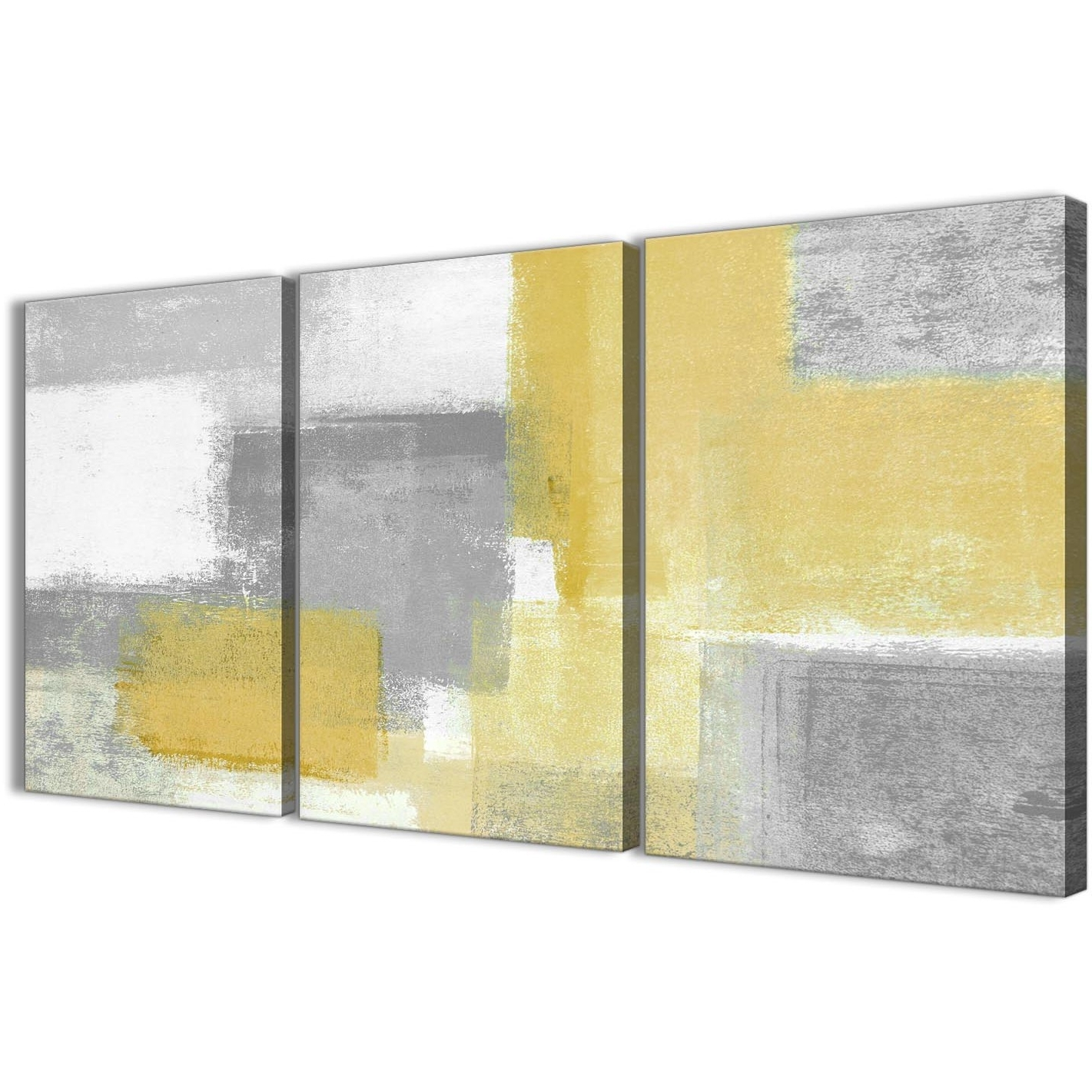 3 Panel Mustard Yellow Grey Kitchen Canvas Wall Art Decor - Abstract inside 2018 Yellow And Grey Wall Art