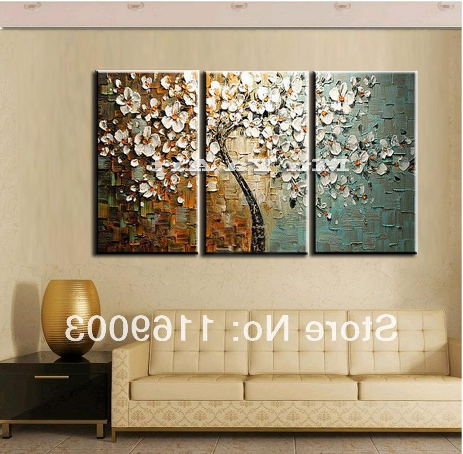 3 Panel Wall Art Canvas Tree Acrylic Decorative Pictures Hand With Regard To Fashionable Cheap Large Canvas Wall Art (View 2 of 15)