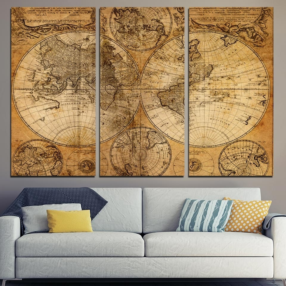 3 Pcs/set Framed Hd Printed Retro Old World Map Picture Wall Art Intended For Well Known Old World Map Wall Art (View 1 of 15)