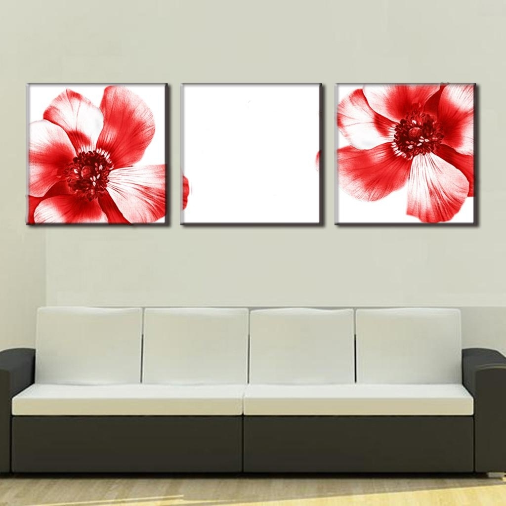 3 Pcs/set Modern Wall Paintings Two Red Flowers Canvas Prints Art On Regarding Newest Red Wall Art (View 3 of 15)