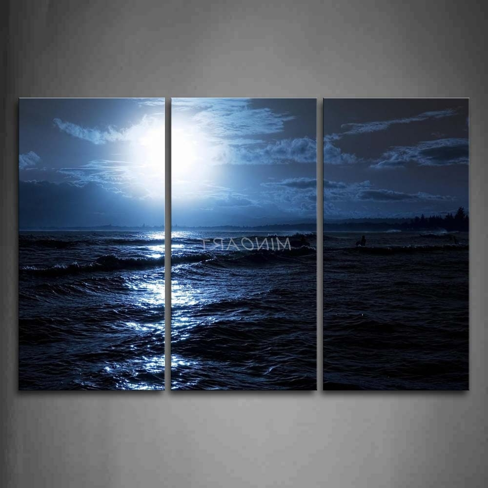 3 Piece Blue Wall Art Painting Ocean At Night Bright Moon Picture Regarding Recent Ocean Wall Art (View 1 of 15)