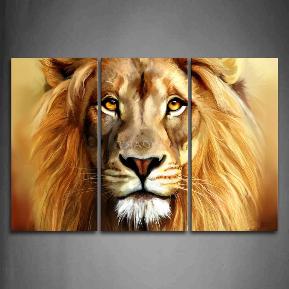 3 Piece Brown Wall Art Painting Lion Head Portrait Print On Canvas Pertaining To Most Current Lion Wall Art (View 4 of 15)