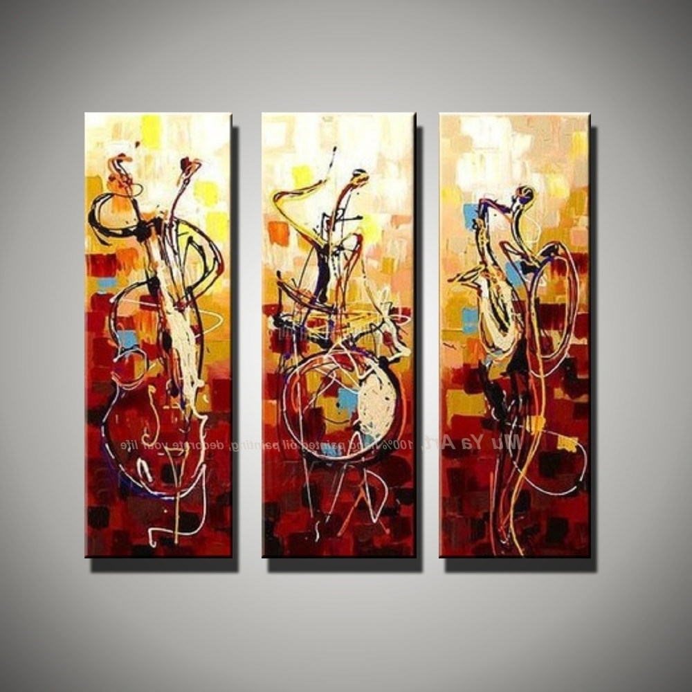 3 Piece Canvas Wall Art throughout Most Current Vertical Music Art Knife Painting Canvas Abstract Modern 3 Piece
