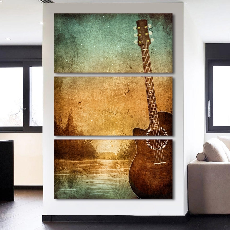 3 Piece Printed Canvas Wall Art Acoustic Guitar Lovers Pictures For With Regard To Most Recently Released 3 Piece Canvas Wall Art (View 5 of 15)