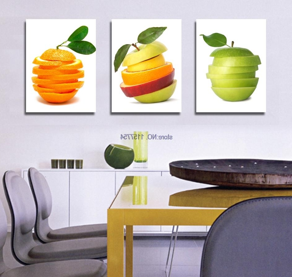 3 Piece Wall Art Fruit Spray Painting For Kitchen Canvas Art Canvas Regarding Current Kitchen Canvas Wall Art Decors (View 1 of 15)