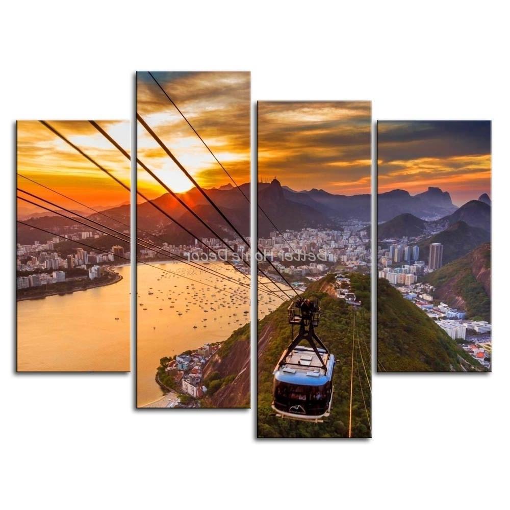 3 Piece Wall Art Painting Rio De Janeiro In Sunset Scene Print On Inside Popular Multi Piece Wall Art (View 1 of 15)