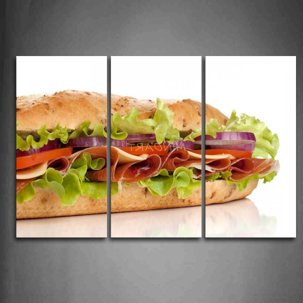 3 Piece Wall Art Painting Sandwich With Vegetable And Meat Picture Within Popular 4 Piece Wall Art (View 3 of 15)