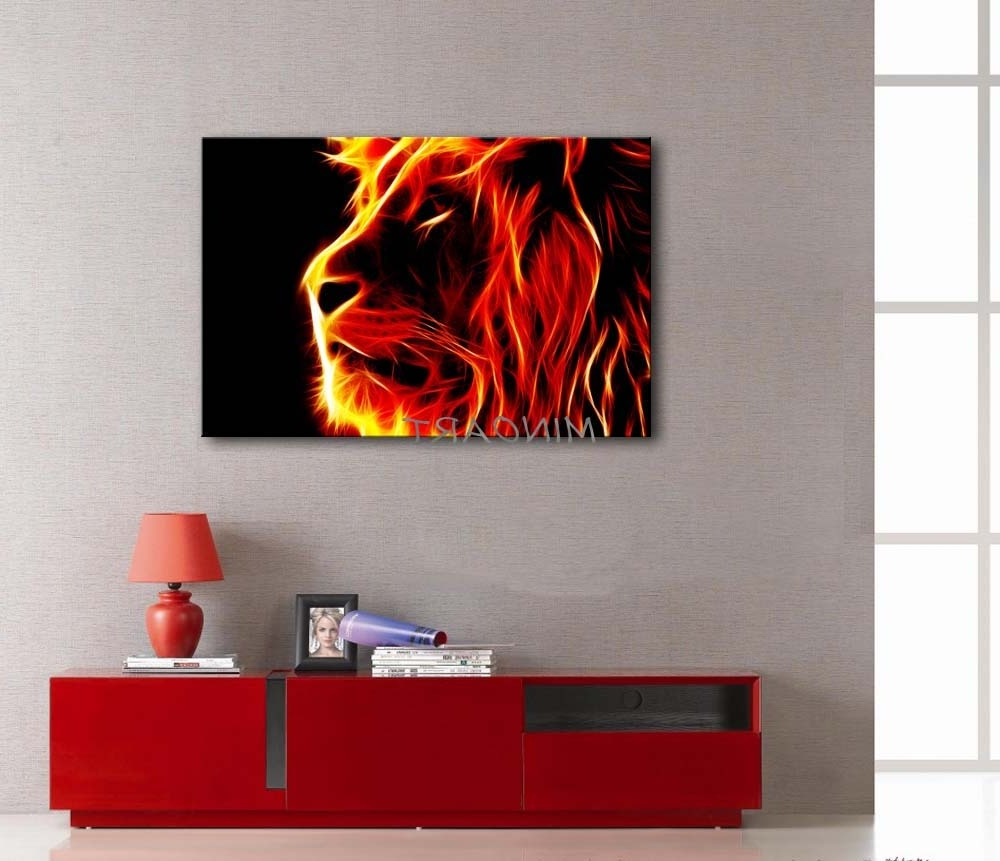 3 Piece Yellow Orange Wall Art Painting Lion Artistic Fire Black Inside Widely Used Orange Wall Art (View 3 of 15)