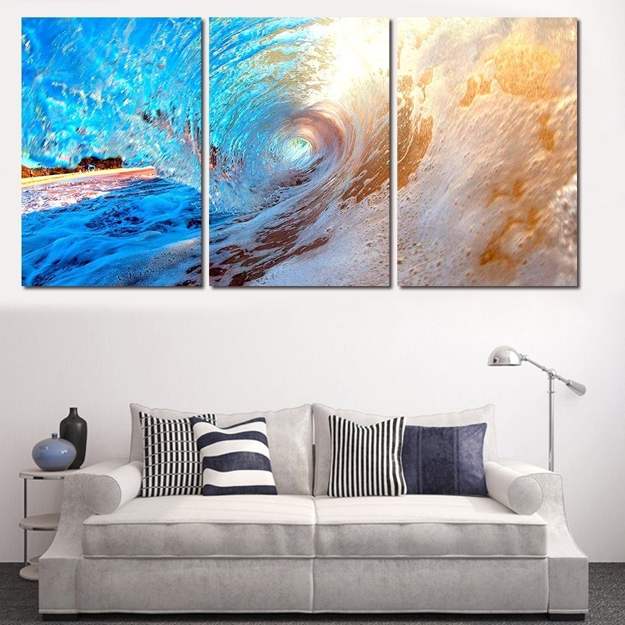 3 Plane Abstract Sea Wave Modern Home Decor Wall Art Canvas Blue With Regard To Latest Ocean Wall Art (View 2 of 15)